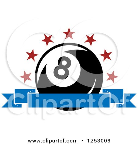 Clipart of an Arch of Stars and Banner over a Billiards Eight Ball - Royalty Free Vector Illustration by Vector Tradition SM