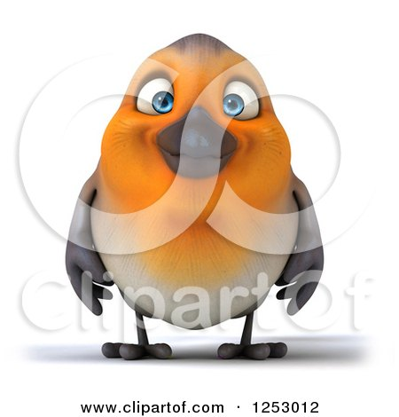 Clipart of a 3d Red Robin Bird Smiling - Royalty Free Illustration by Julos