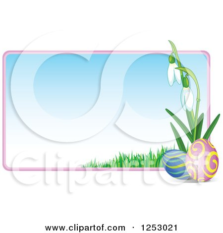 Clipart of a Gradient Easter Sign with Eggs and Snowdrop Flowers - Royalty Free Vector Illustration by Pushkin
