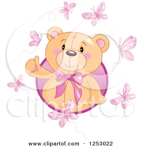 Clipart of a Cute Teddy Bear Emerging from a Circle with Pink Butterflies - Royalty Free Vector Illustration by Pushkin