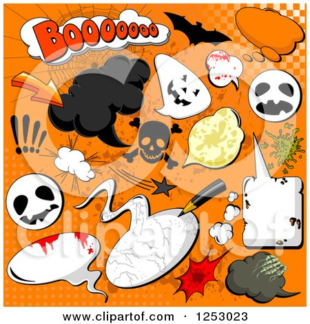 Clipart of Halloween Comic Design Elements on Orange - Royalty Free Vector Illustration by Pushkin