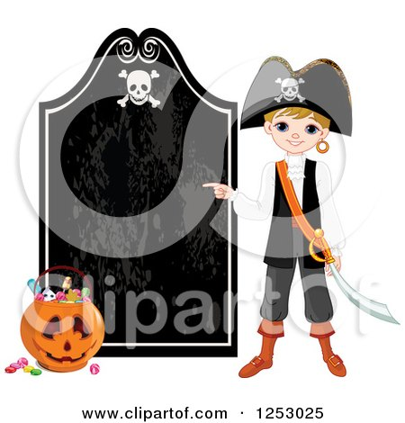 Clipart of a Blond Pirate Boy Pointing to a Halloween Sign - Royalty Free Vector Illustration by Pushkin