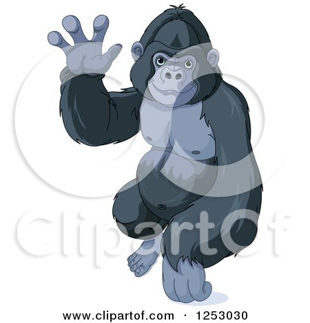 Clipart of a Cute Friendly Gorilla Waving - Royalty Free Vector Illustration by Pushkin