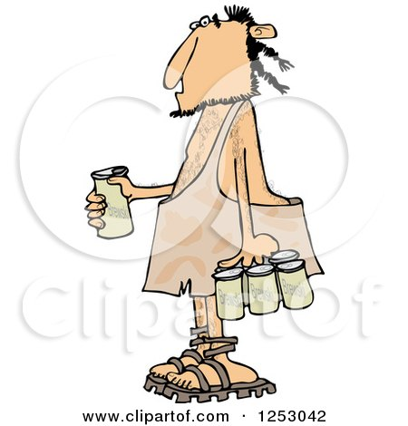 Clipart of a Caveman with a Six Pack of Beer - Royalty Free Vector Illustration by djart