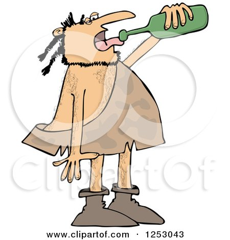 Caveman Drinking Wine from a Bottle Posters, Art Prints
