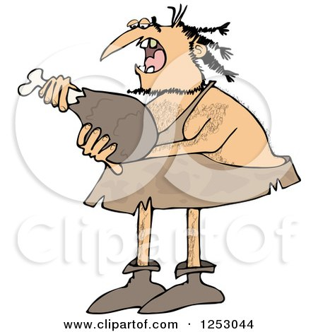 Clipart of a Caveman Eating a Meat Drumstick - Royalty Free Vector Illustration by djart