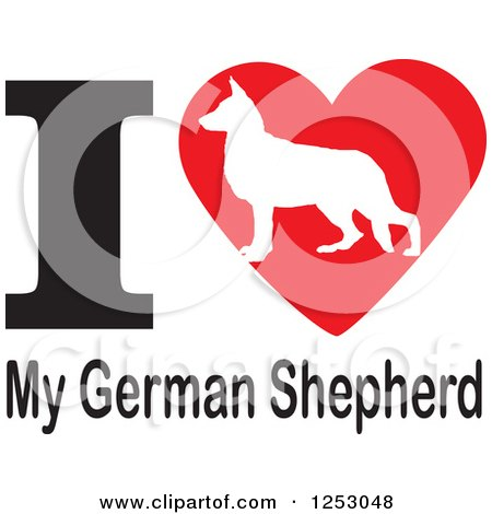 Clipart of an I Heart My German Shepherd Dog Design - Royalty Free Vector Illustration by Johnny Sajem