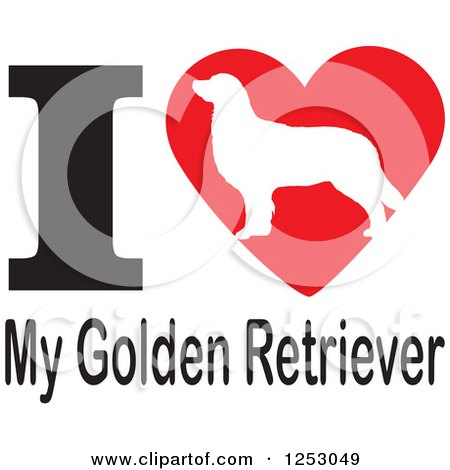 Clipart of an I Heart My Golden Retriever Dog Design - Royalty Free Vector Illustration by Johnny Sajem