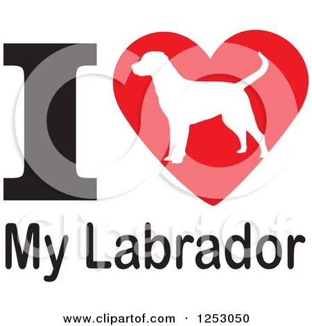 Clipart of an I Heart My Labrador Dog Design - Royalty Free Vector Illustration by Johnny Sajem
