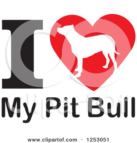 Clipart of an I Heart My Pit Bull Dog Design - Royalty Free Vector Illustration by Johnny Sajem