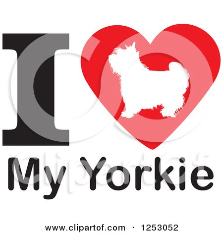 Clipart of an I Heart My Yorkie Dog Design - Royalty Free Vector Illustration by Johnny Sajem