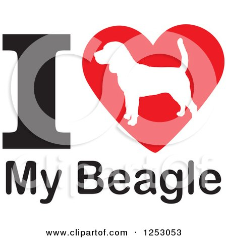 Clipart of an I Heart My Beagle Dog Design - Royalty Free Vector Illustration by Johnny Sajem