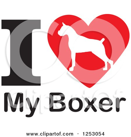 Clipart of an I Heart My Boxer Dog Design - Royalty Free Vector Illustration by Johnny Sajem