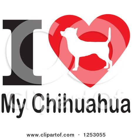 Clipart of an I Heart My Chihuahua Dog Design - Royalty Free Vector Illustration by Johnny Sajem