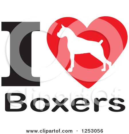 Clipart of an I Heart Boxers Dog Design - Royalty Free Vector Illustration by Johnny Sajem