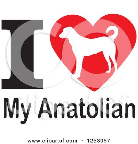 Clipart of an I Heart My Anatolian Dog Design - Royalty Free Vector Illustration by Johnny Sajem