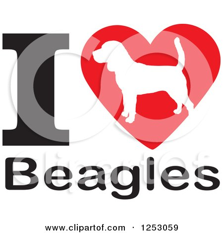 Clipart of an I Heart Beagles Dog Design - Royalty Free Vector Illustration by Johnny Sajem