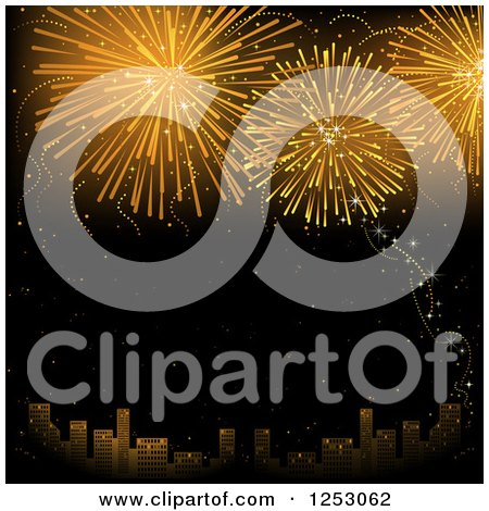 Clipart of a City and Golden Firework or Fourth of July New Year Background - Royalty Free Vector Illustration by dero