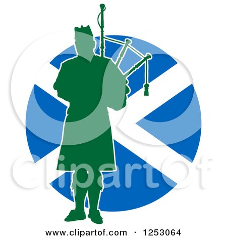 Clipart of a Green Silhouetted Scot Piper Holding Bagpipes over a Scottish Flag - Royalty Free Vector Illustration by Maria Bell