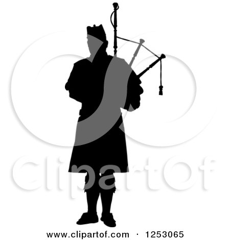Clipart of a Black Silhouetted Scottish Piper Holding Bagpipes - Royalty Free Vector Illustration by Maria Bell
