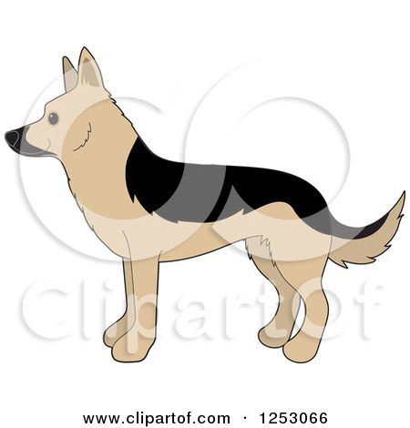 Clipart of a Cute Alsatian German Shepherd Dog in Profile - Royalty Free Vector Illustration by Maria Bell