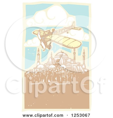 Clipart of a Plane Flying over the Hagia Sophia in Istanbul Turkey - Royalty Free Vector Illustration by xunantunich