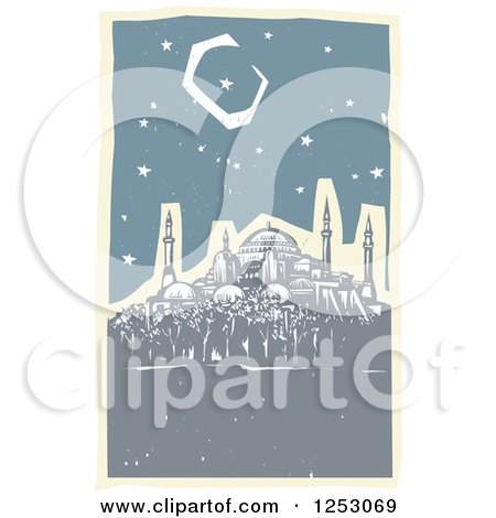 Clipart of a Crescent Moon and Starry Night Sky over the Hagia Sophia - Royalty Free Vector Illustration by xunantunich