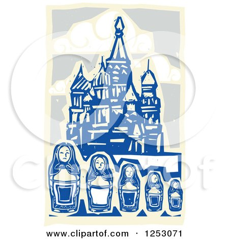Clipart of a Woodcut of Nesting Dolls and Kremlin in Moscow - Royalty Free Vector Illustration by xunantunich