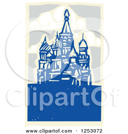 Clipart of a Woodcut of Kremlin in Moscow - Royalty Free Vector Illustration by xunantunich