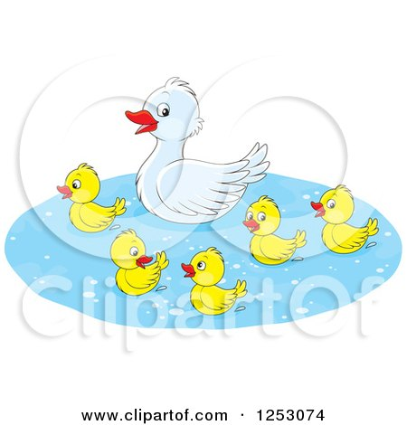 Clipart of a Cute Mother Duck and Babies Swimming - Royalty Free Vector Illustration by Alex Bannykh