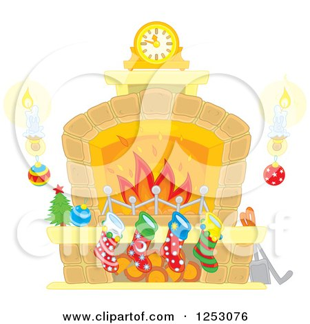 Clipart of a Fireplace with Candles and Christmas Stockings - Royalty Free Vector Illustration by Alex Bannykh