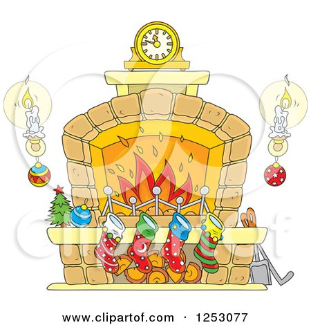 Clipart of a Christmas Fireplace with Candles and Stockings - Royalty Free Vector Illustration by Alex Bannykh