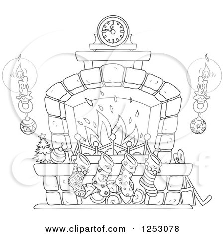 Pleasing Clipart Of A Black And White Christmas Fireplace With Home Interior And Landscaping Palasignezvosmurscom