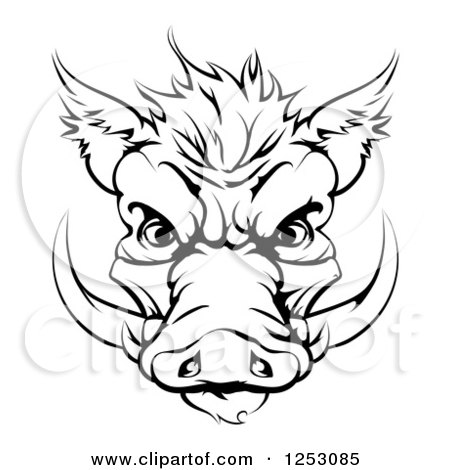 Clipart of a Black and White Aggressive Boar Mascot Face - Royalty Free Vector Illustration by AtStockIllustration