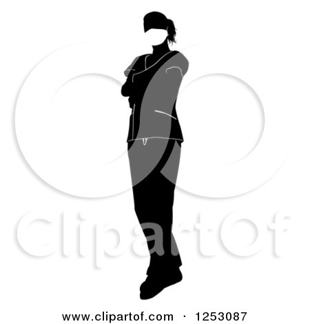 Clipart of a Faceless Black and White Female Surgeon or Nurse - Royalty Free Vector Illustration by AtStockIllustration