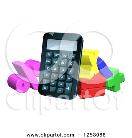 Clipart of a 3d Calculator and Symbols of Math - Royalty Free Vector Illustration by AtStockIllustration
