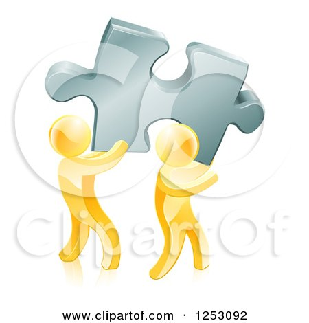 Clipart of 3d Gold Men Carrying a Large Solution Puzzle Piece - Royalty Free Vector Illustration by AtStockIllustration