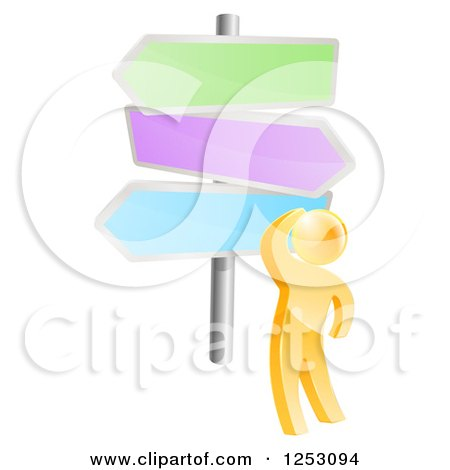 Clipart of a 3d Gold Man Looking up at Colorful Crossroads Signs - Royalty Free Vector Illustration by AtStockIllustration