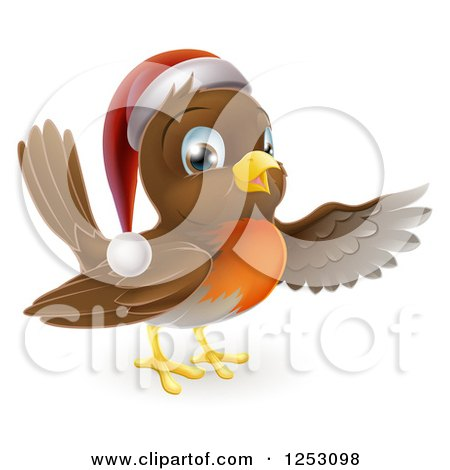 Clipart of a Happy Christmas Robin Bird Pointing - Royalty Free Vector Illustration by AtStockIllustration