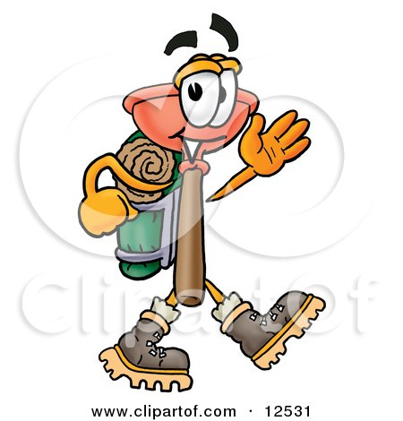 Clipart Picture of a Sink Plunger Mascot Cartoon Character Hiking and Carrying a Backpack by Toons4Biz