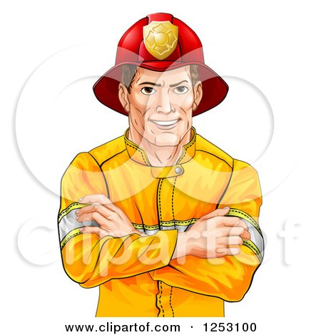 Clipart of a Handsome Brunette Caucasian Fireman Avatar with Folded Arms - Royalty Free Vector Illustration by AtStockIllustration