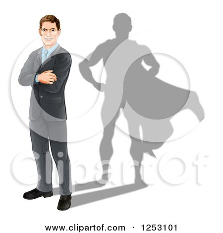 Clipart of a Brunette Caucasian Businesman Standing with Folded Arms and a Super Hero Shadow - Royalty Free Vector Illustration by AtStockIllustration