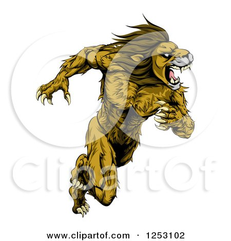 Clipart of a Muscular Fierce Sprinting Lion Man Mascot - Royalty Free Vector Illustration by AtStockIllustration