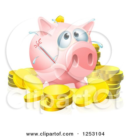 Clipart of a Sick Piggy Bank with a Fever and Bursting Thermometer and Gold Coins - Royalty Free Vector Illustration by AtStockIllustration