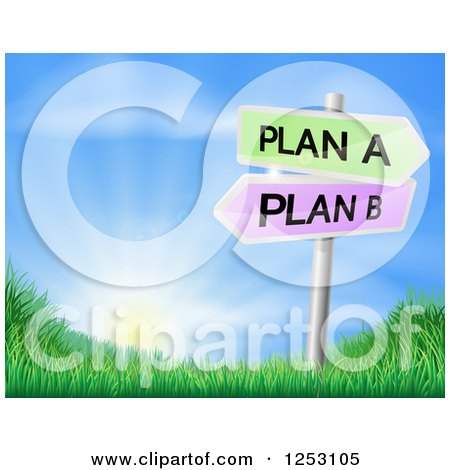 Clipart Of A Plan a or Plan B Decision Signs Over a Sunrise - Royalty Free Vector Illustration by AtStockIllustration