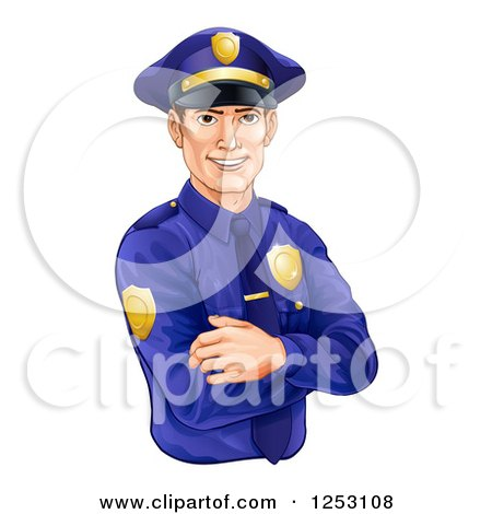 Clipart Of A Handsome Brunette Caucasian Police Officer Avatar With Folded Arms Royalty Free Vector Illustration