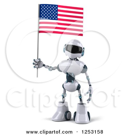 Clipart of a 3d White and Blue Robot Holding an American Flag - Royalty Free Illustration by Julos