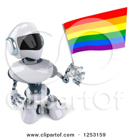 Clipart of a 3d White and Blue Robot Holding a Rainbow LGBT Flag - Royalty Free Illustration by Julos