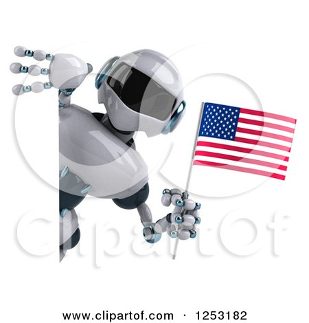 Clipart of a 3d White and Blue Robot Holding an American Flag Around a Sign - Royalty Free Illustration by Julos