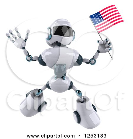 Clipart of a 3d White and Blue Robot Jumping with an American Flag - Royalty Free Illustration by Julos
